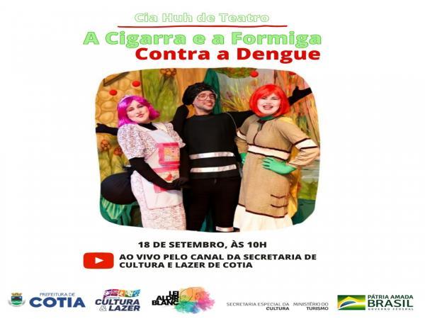 A cigarra e a formiga se unem contra a dengue em apresentação de teatro